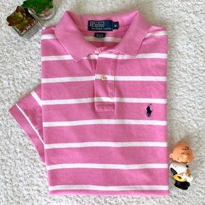 Ralph Lauren Pink White Stripes Polo Shirt Men Med